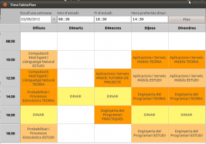 TimeTable Planner's solution. Self-study periods marked in light orange.
